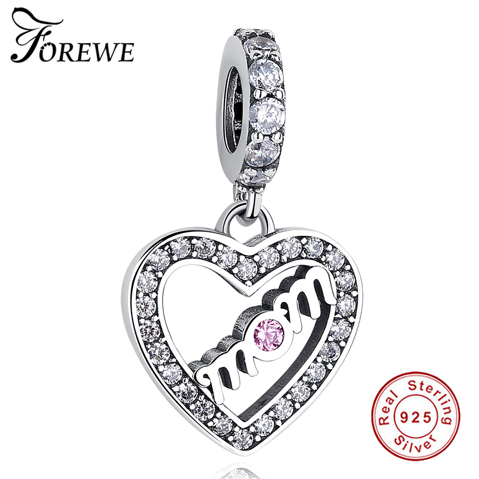FOREWE 100% 925 Sterling Silver Mom Heart Pendant Charm fit Pandora Charm Bracelet With Clear CZ Jewelry Mothers Day Gift