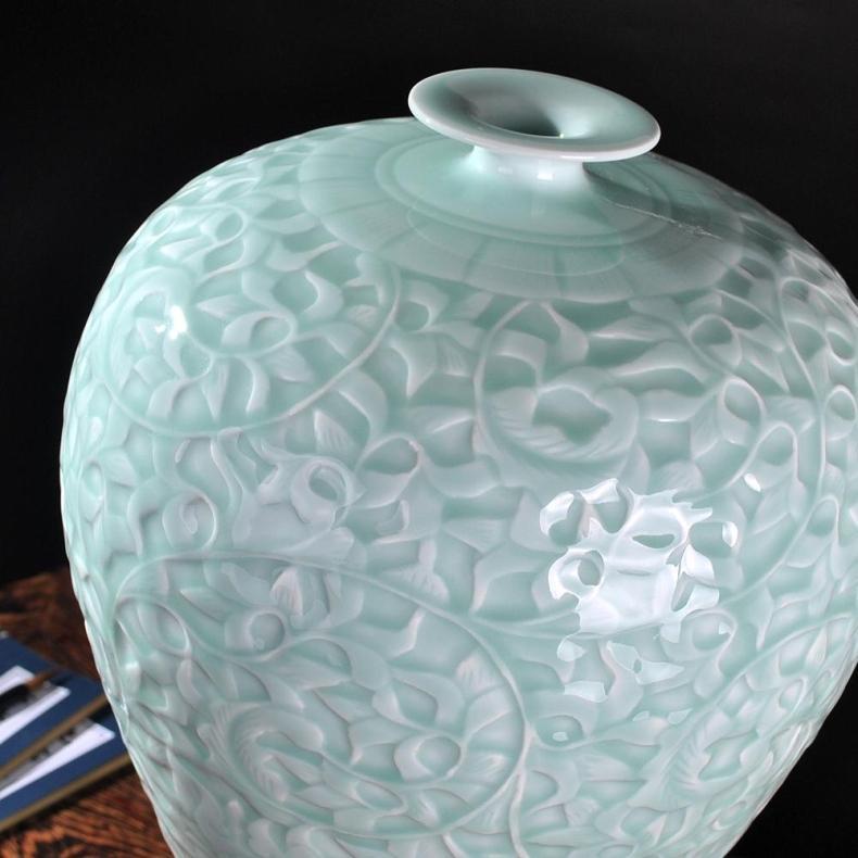 Antique Celadon Tabletop Flower Vase - Home & Garden
