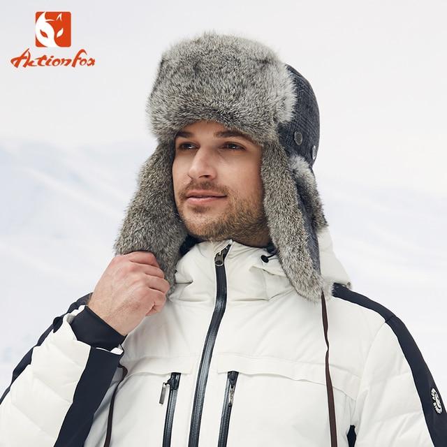 09fadbff1bf ACTIONFOX Hot Sale Ushanka Russian Hat rabbit hair Fur Winter Hats sports  snow outdoor aviator ear flaps cap for men women
