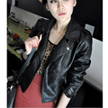 2015 New Zipper Motorcycle Leather Fur Clothing Leather Jacket Women PU Leather Short Jacket Black Slim Casual winter