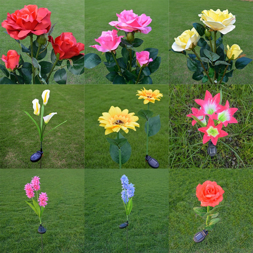Solar Powered Flower Light Lawn Lamp Waterproof Rose Hyacinth Lily Sunflower Lamp Home Garden Yard Lawn Path Party Decor