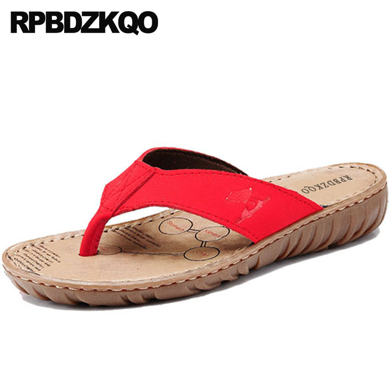 6289482d7b020 Slides Casual Red Sandals 2018 Wide Fit Shoes Ladies Plain Fashion Summer  Chinese Beach Women Slippers Brown Leather Flip Flop