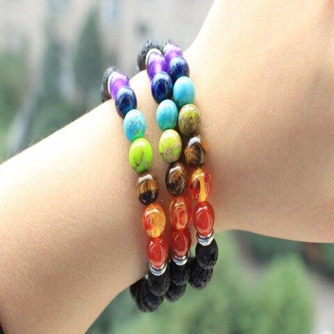 Микс 7 цветов браслеты черная натуральная Лава Чакра лечебный