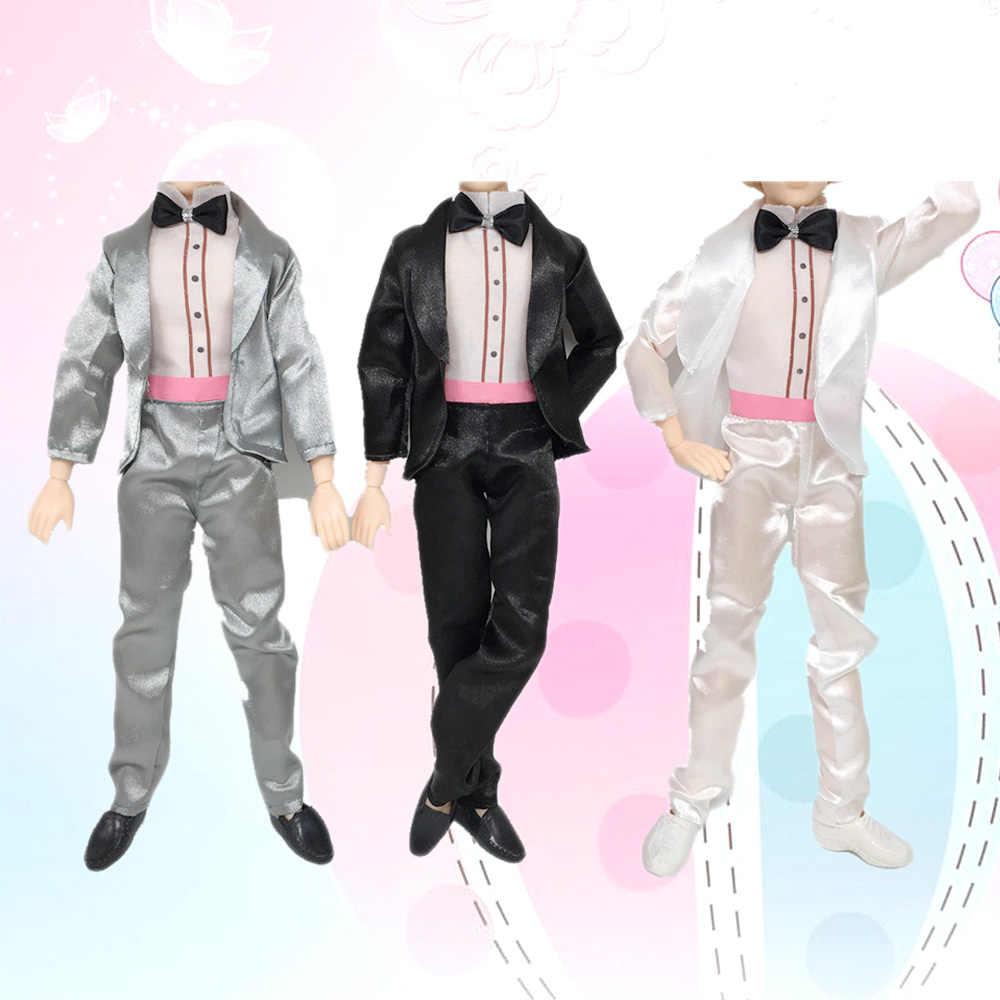 Besegad 3 комплекта кукла мужчины принц Костюм для жениха Свадебная одежда Рубашки Пальто галстук-бабочка брюки обувь с шипами Лоферы для Барби Кен игрушка