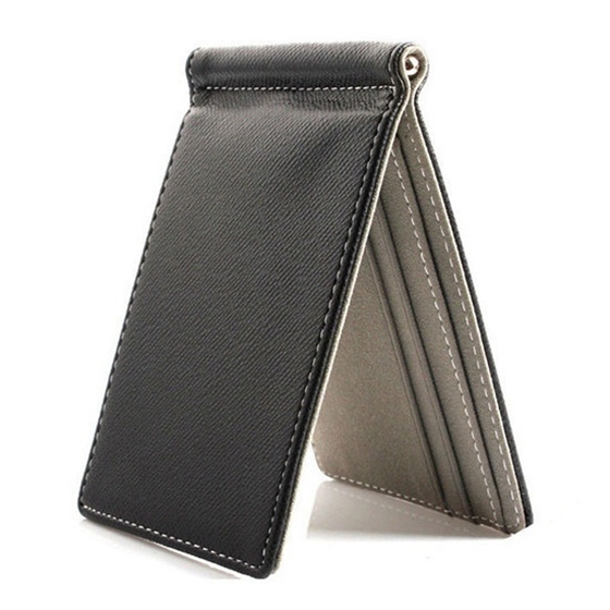Men Bifold Business Leather WalletFaux Leather Brand  Mens Credit Card Wallet Money Clip Contract Color Simple Design Burnished
