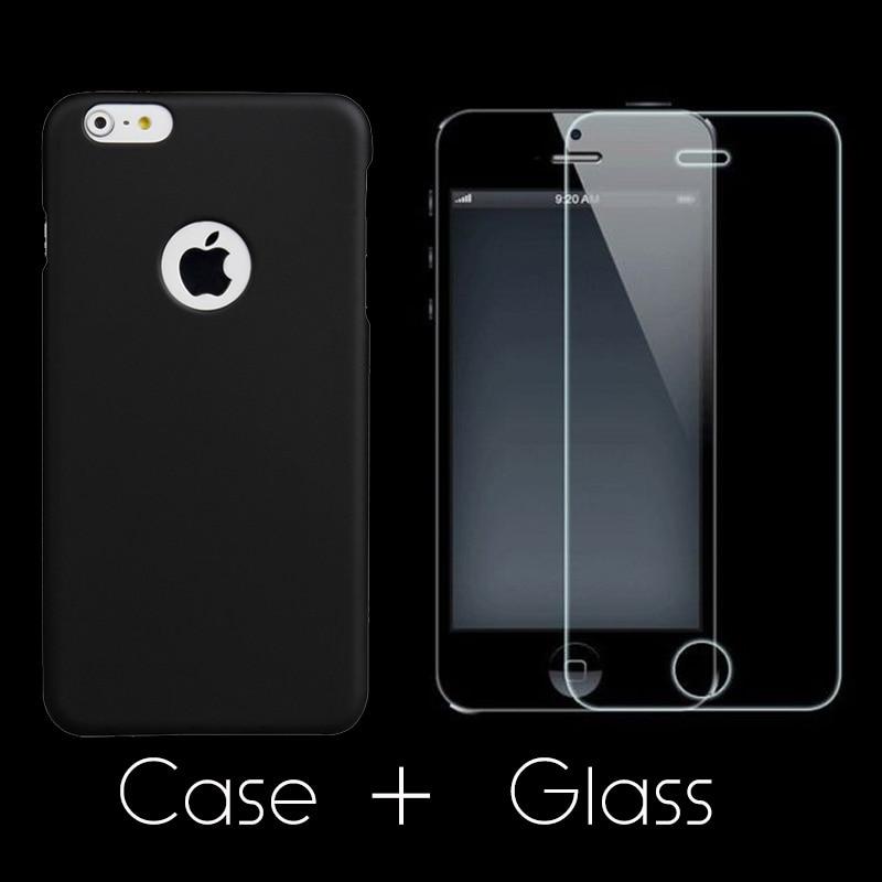 Ultratunn matt hårt fodral + härdat glas skärmskyddsfilm för - Reservdelar och tillbehör för mobiltelefoner