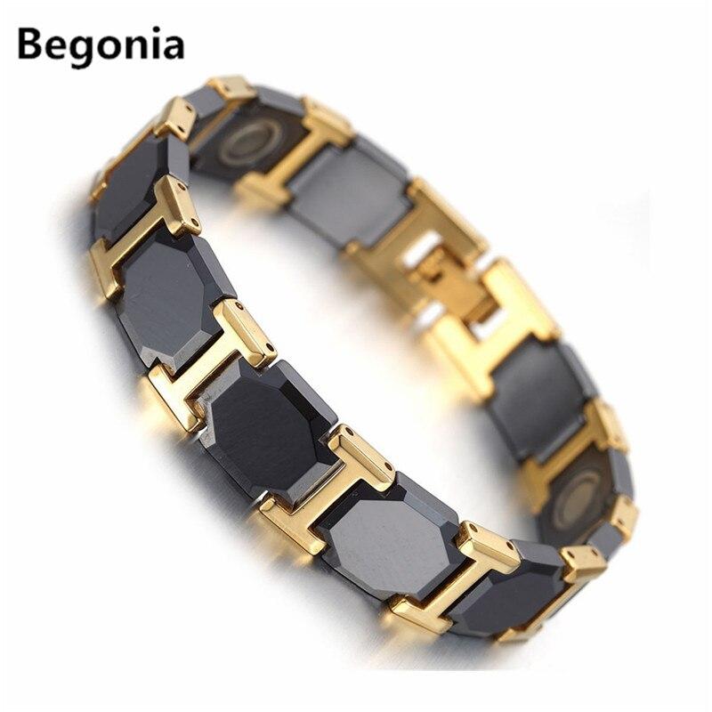 Fashion Black Ceramic Bracelet For Mens Gold Color Health Balance Bracelet With...