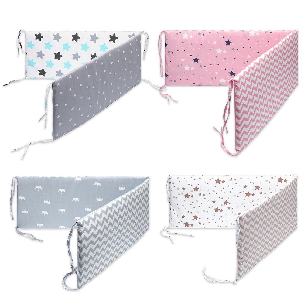 Cotton Breathable Crib Bumper Pads Washable Padded Crib Liner Set For Baby Boys Girls Safe Bumper Guards Crib Rail Padding