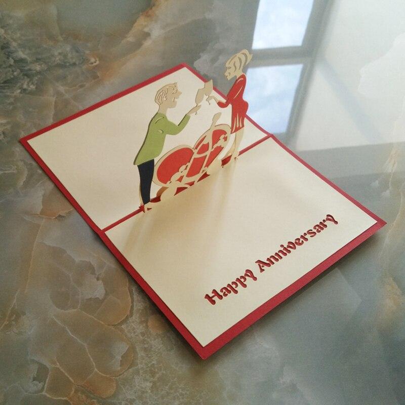 Biglietto Auguri Matrimonio Pop Up : 10 pezzi lottp 3d pop up anniversario di matrimonio festa invito