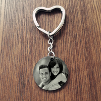 Engrave Photo Keychain 316L Stainless Steel Personized Name Key Chain Gift Dropshipping