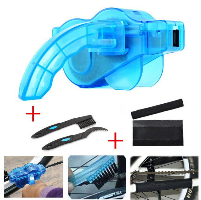 4 PCS / Set Bicycle Chain Cleaner Cycling Cleaning Brushes Bike Quick Washing tool Kits+ Clean Brush+ Chain Protector OD0001