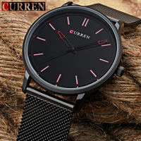 CUUREN Mens Watches Top Brand Luxury Black Mesh Steel Male Clock Quartz Watch Men Fashion Casual