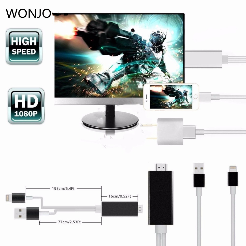 8 Pin to HDMI Cable HDTV AV Adapter for iPhone 5s//6//6s//7 Plus SE iPad Air Mini