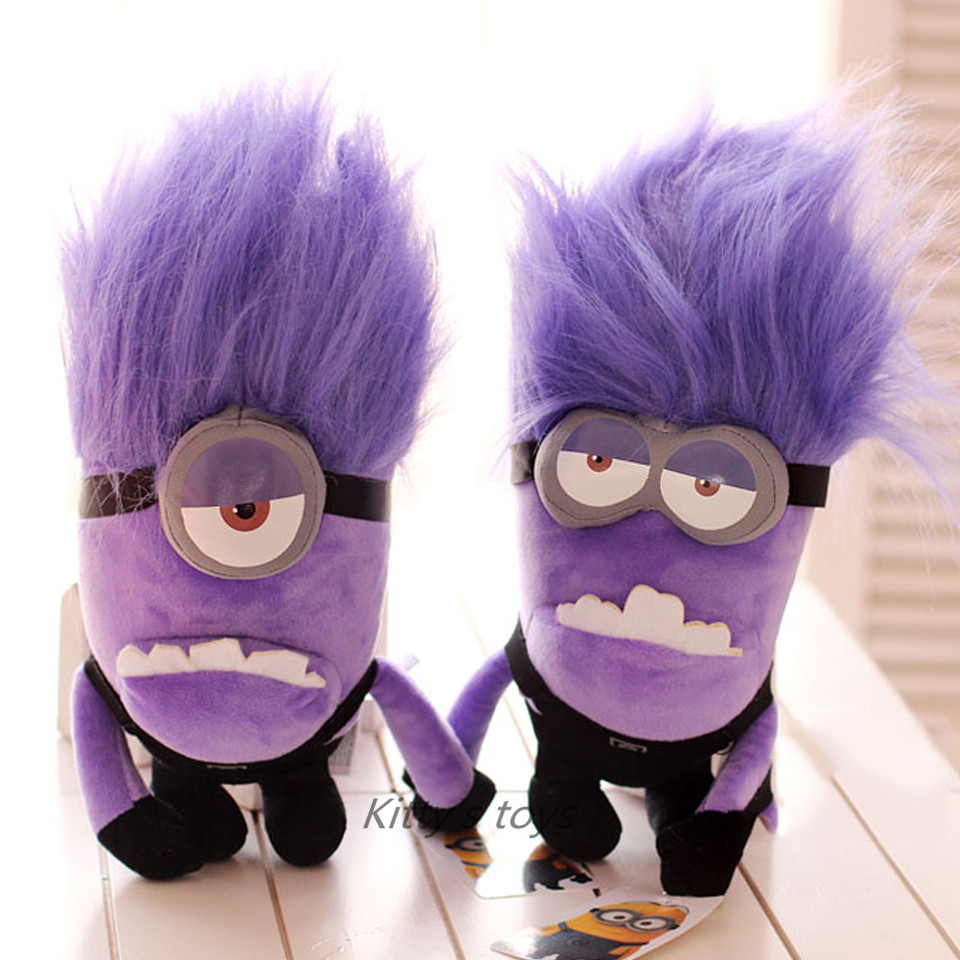 """Hot sale 9 """" purple minion toys despicable me Creative purple Minions 3D eyes 18cm doll soybeans doll plush toys free shipping"""