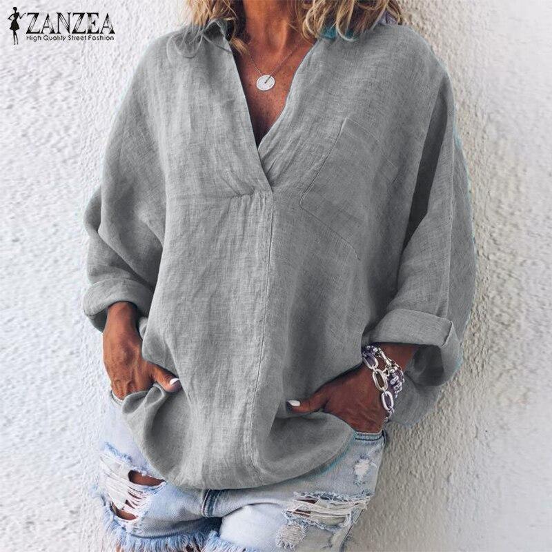 ZANZEA Autumn Long Sleeve Shirt Women Elegant V Neck Summer Blouse Casual Lapel Tunic Tops Femme Chemise Loose Work Solid Blusas