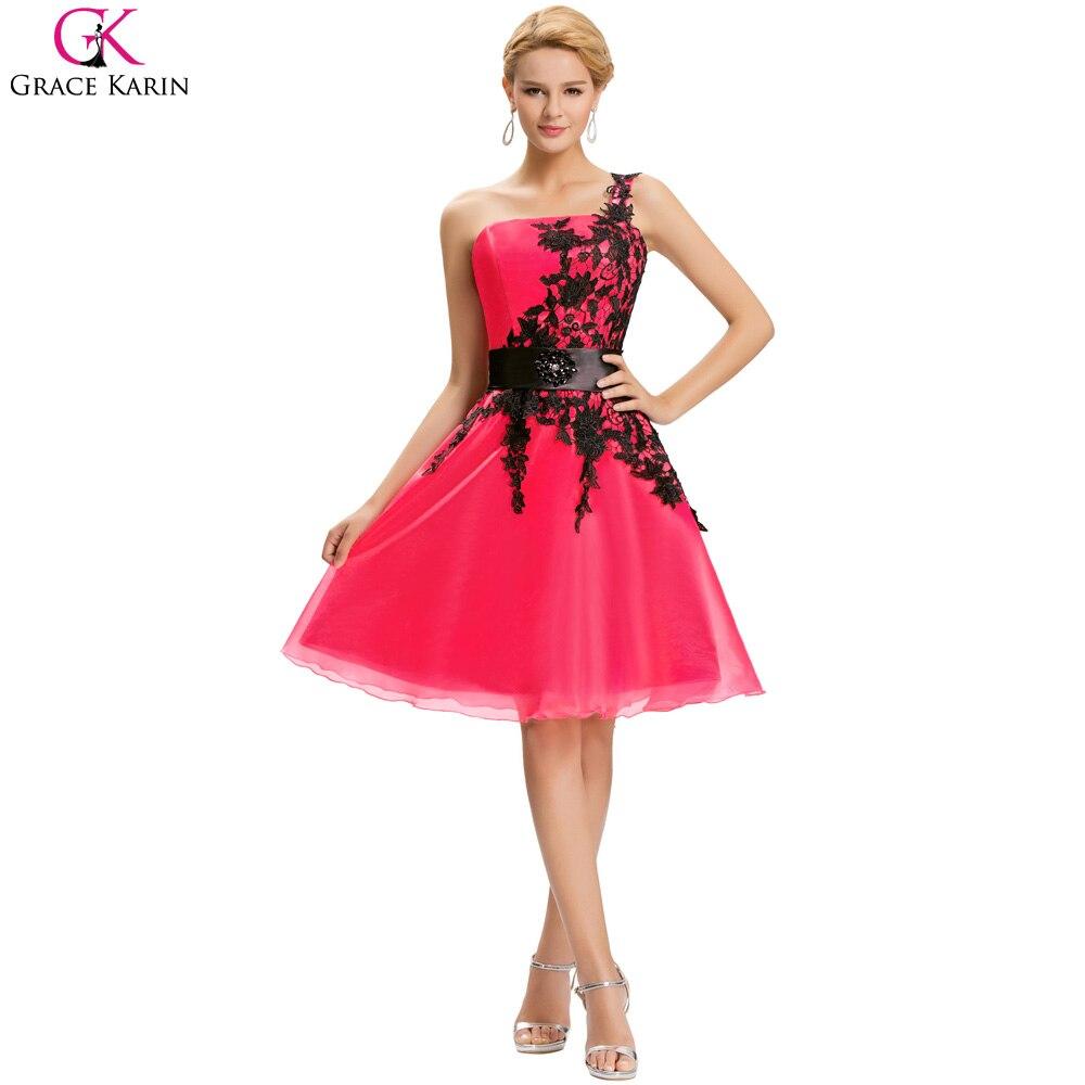 Grace Karin Short Evening Dresses Organza Lace One Shoulder Vestidos ...
