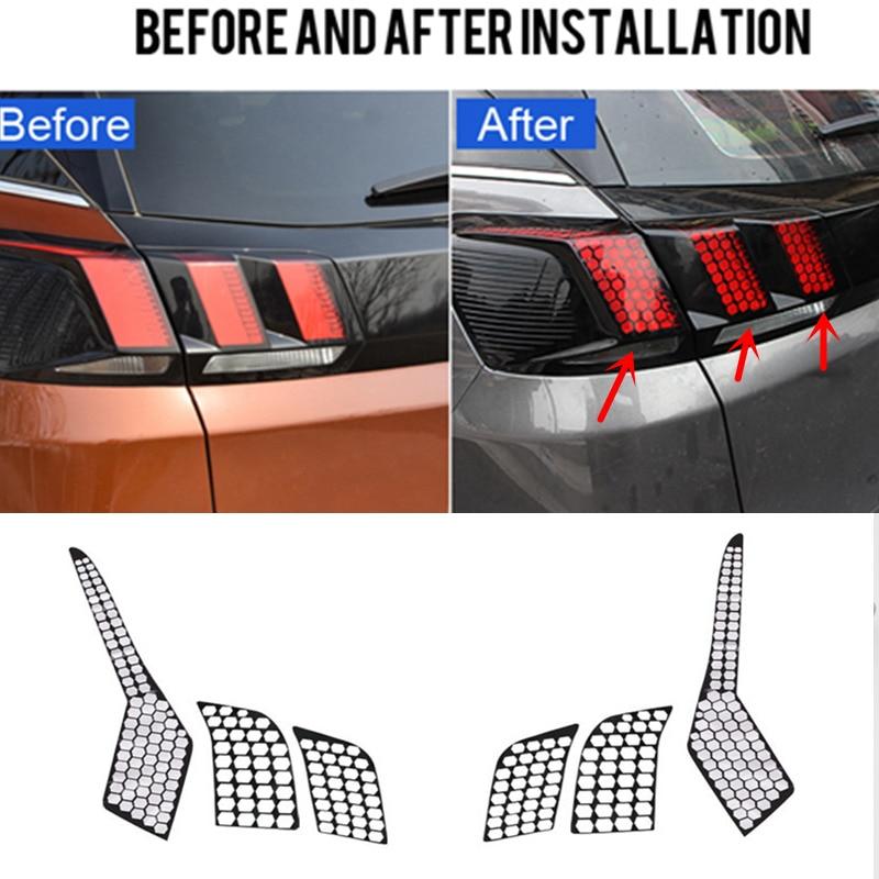 For Peugeot 3008 / 3008 GT 2016 2017 2018 Car Auto Accessories Rear Tail Light Lamp Honeycomb Protector Sticker 1SET брызговики передние и задние кроме gt для peugeot 3008 2017