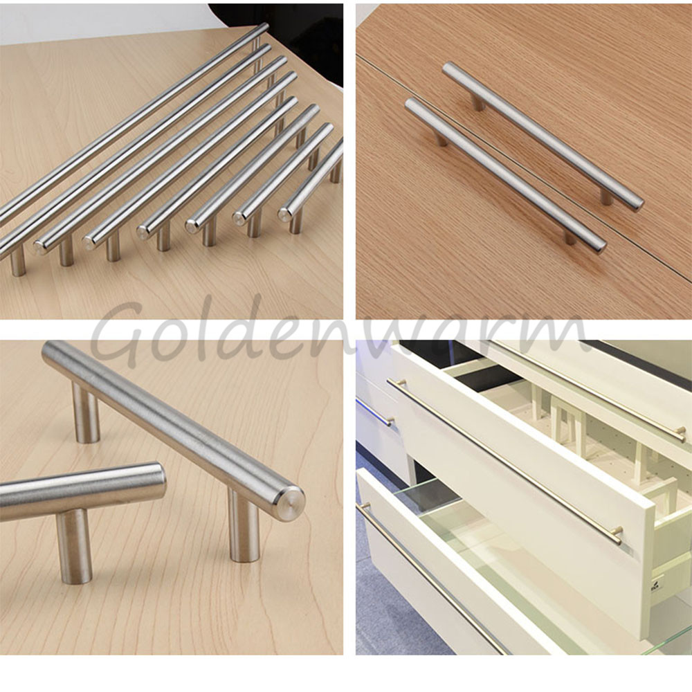 Goldenwarm Brushed Stainless Steel Kitchen Cabinet Handles Silver T ...