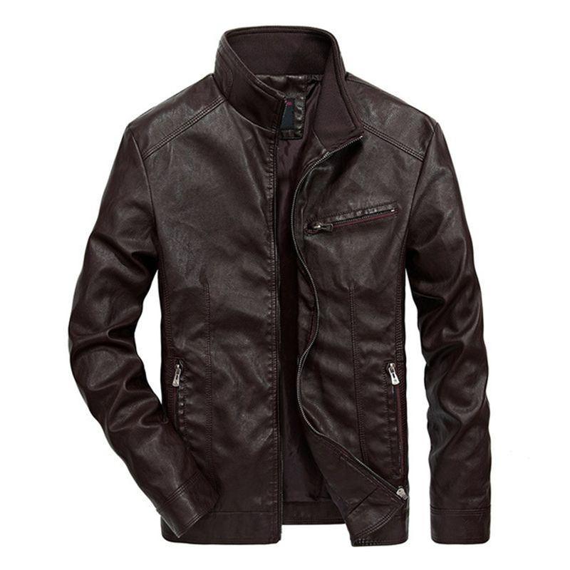 zozowang Men's Leather Jackets Men Stand Collar Coats Male Motorcycle Leather Jacket Casual Slim Brand Clothing plus size 5XL-in Faux Leather Coats from Men's Clothing    2
