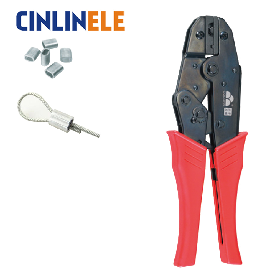 HS-12 6 8 10mm 10-7AWG Crimp Pliers Multi Hand Tools Wire Rope Cable Sleeves & Stops Terminals Crimping 9 Inch