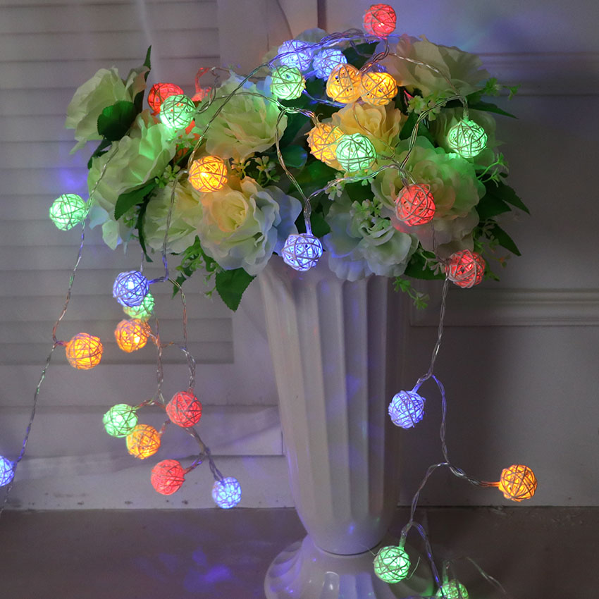 5M 40 Bulbs Battery Operated Rattan Ball String Lights LED Holiday Lighting Lamp Decoration Fairy Christmas Garland Light String ...