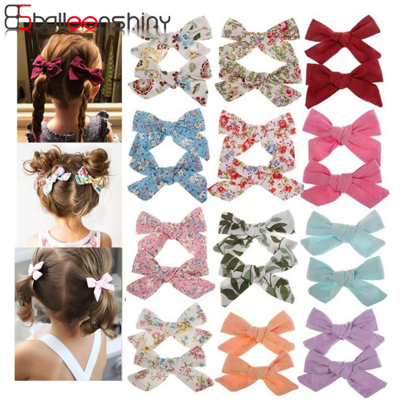 Balleenshiny Printed Bow Baby Hair Clip Children's Cute Fresh Floral Cotton Hair Accessories Baby Girl Hair Accessories For 0-6Y