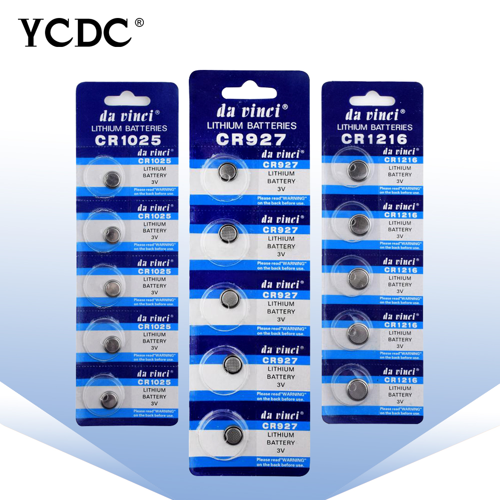 YCDC 5PCS 3V Lithium Button Battery CR927 CR1025 CR1216 CR1220 CR1225 CR1616 Button Coin Cell Batteries For Watch Calculator Toy
