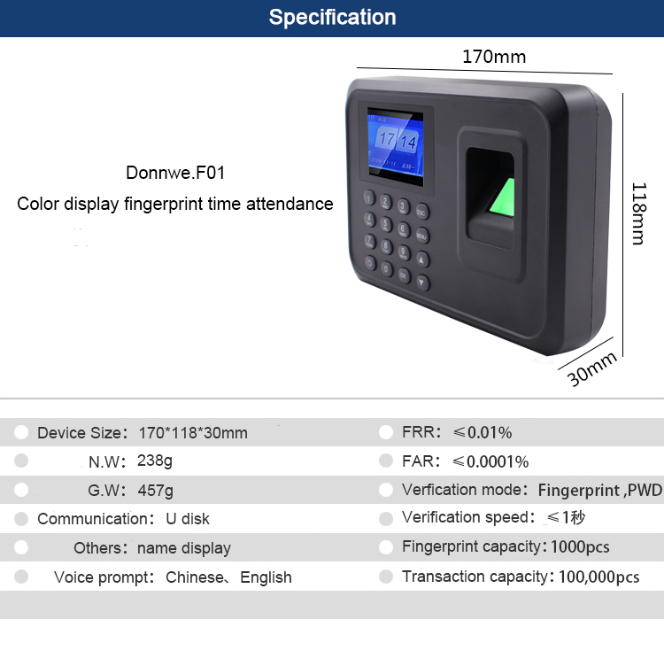 Youku Fingerprint Time Recording For Attendance Clock Recorder Employee  Recognition Device Voice Prompt Work Time Recording