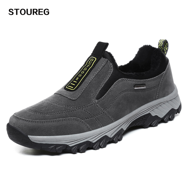 Slip-On Mens Hiking Shoes Thermal Fleece Winter Trekking Sneakers Tourist Shoes For Men Climbing Hunting Shoes Keep Warm 40-45
