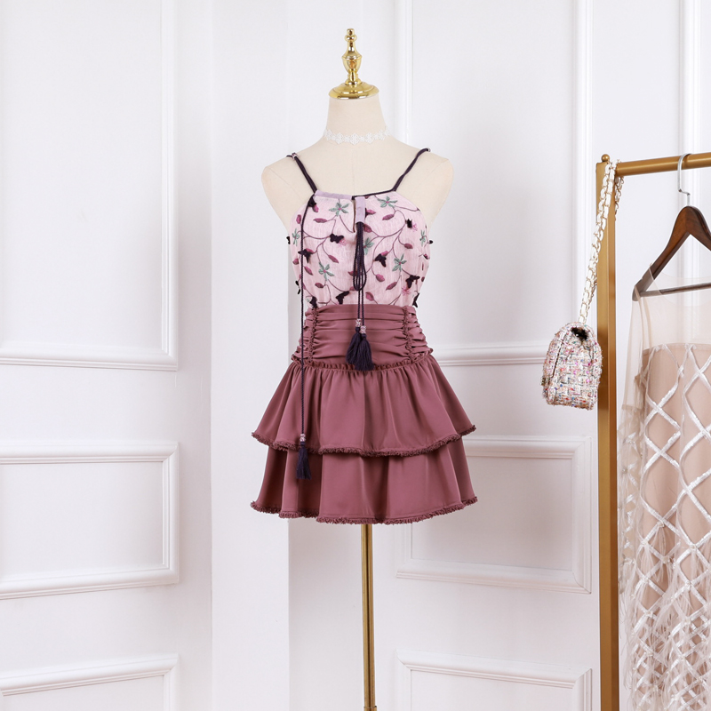 New 2019 vest Suit Female Summer Korean Version Heart Machine High waist Half length Skirt Two piece Suit