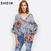 SHEIN Gathered Sleeve Mixed Print Surplice Wrap Top Three Quarter Length Puff Sleeve V Neck Striped Floral Blouse