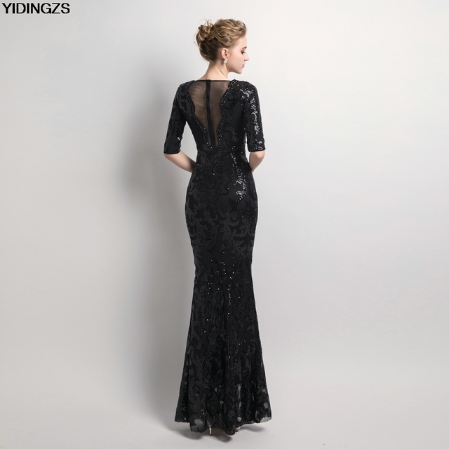 YIDINGZS V-neck See-through Back Sequins Party Formal Dress Half Sleeve Beads Sexy Long Evening Dresses