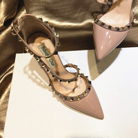 Free shipping fashion women Pumps lady Luxura Designer white patent leather studded spikes S Strappy high heels shoes 8cm 6cm