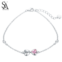 SA SILVERAGE Bracelet Argent 925 Female Real Heart Charms Bracelets Pure 925 Sterling Silver Jewelry For Girl Gift