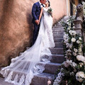 2016 new Cheap 3 m velo de novia Lace Edge Purfles Long tulle Ivory/White Cathedral Wedding Veils Bridal veils with Comb