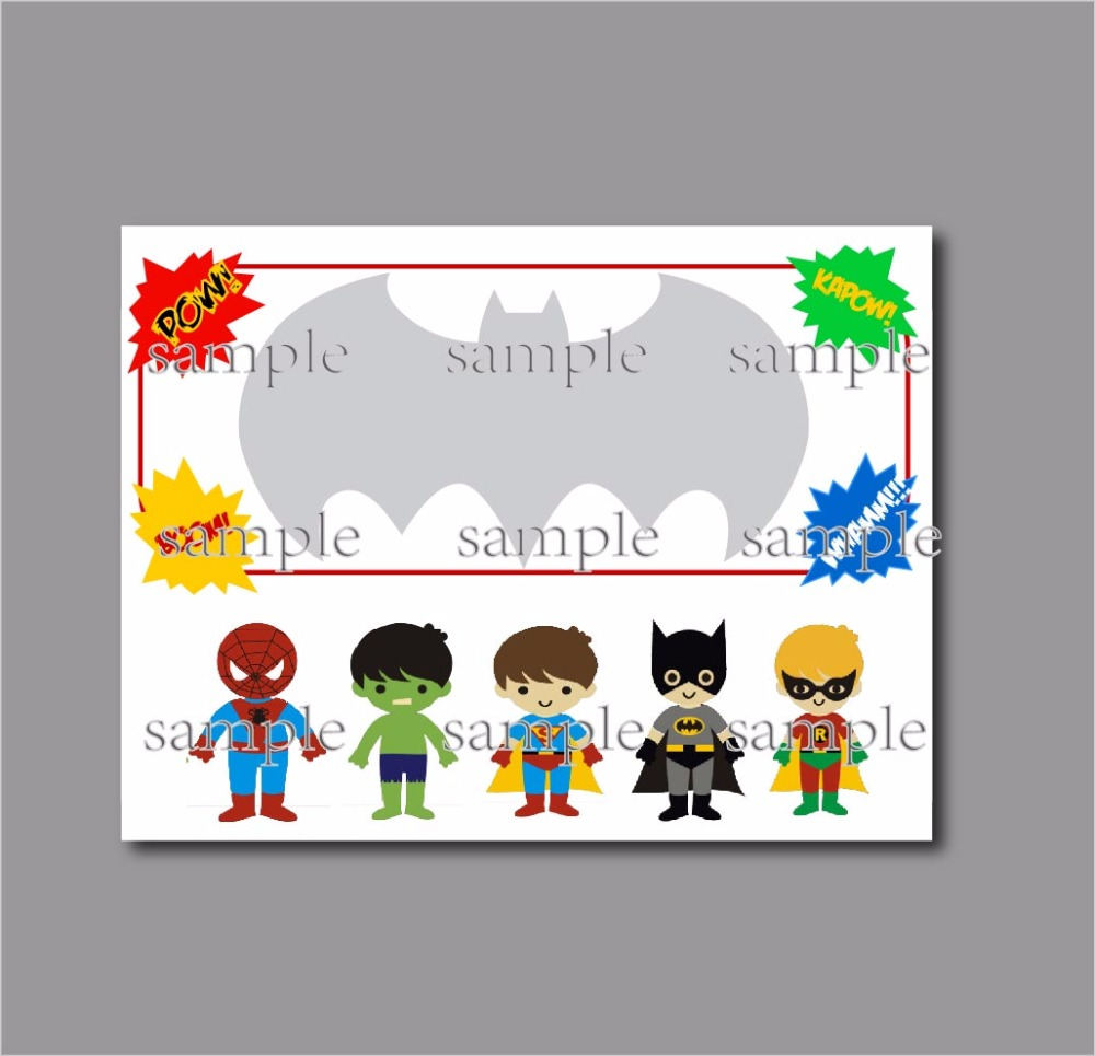 20 pcs/lot Personalised Superhero Birthday Party Invitations Baby ...