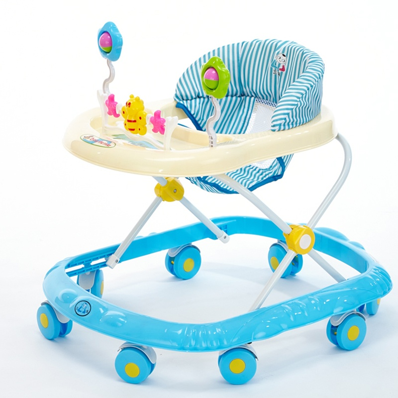 Baby Walker Cartoon Baby Walker with Wheels Anti Rollover Durable Baby Portable Activity Adjustable Music Infant Walkers original fisher price multi function baby walker lion car children activity musical baby walker with wheels adjustable car