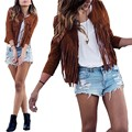 2016 Autumn Women Outerwear Coat Casual Cardigan Fashion Tassel Fringed Suede Long Sleeve Slim Jacket Plus Size S-XL