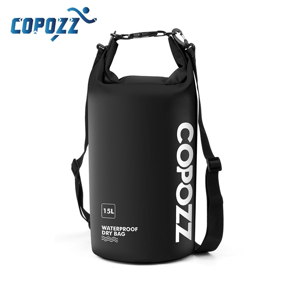 COPOZZ Waterproof Bag Dry Bag PVC 15L With Long Adjustable Strap For Men Women Storage Gym Swimming Bag Travel Backpack Sport
