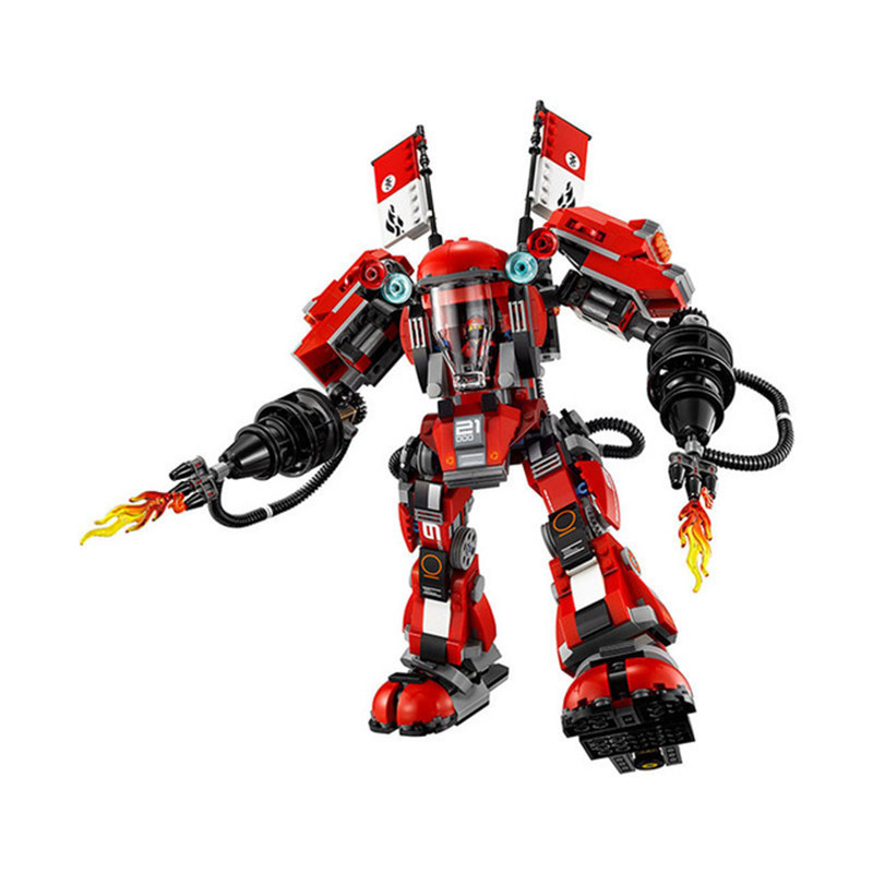 1010pcs LMKJ Diy Ninja Fire Mech Battle Huge Robots Model Blocks Compatible With Legoingly Bricks Toys For Children Brinquedos lepin 663pcs ninja killow vs samurai x mech oni chopper robots 06077 building blocks assemble toys bricks compatible with 70642