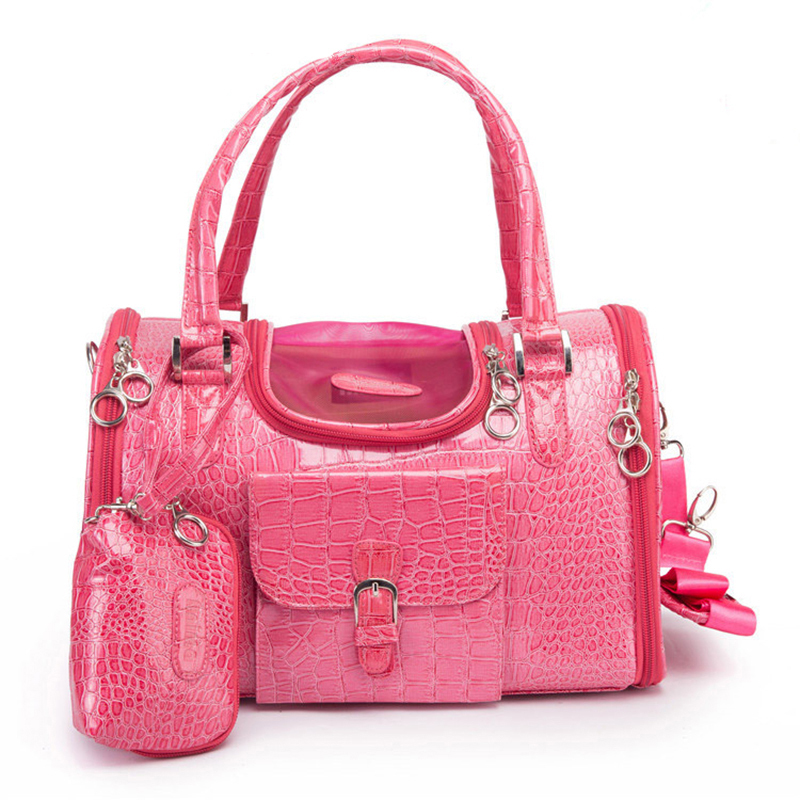 New Arrival Brand Crocodile Leather Dog Carrier Bag PinkBlack Pet Case Portable Travel Handbag Shoulder Tote
