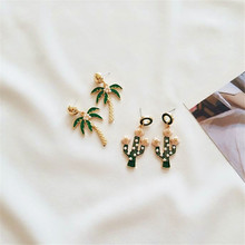 Manual coloured drawing or pattern drops of oil Coconut tree cactus plants creative lovely joker pearl earrings hot