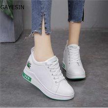 e0dae38b2 Preto Branco Mulheres Sapatos de Plataforma 2018 Primavera Outono Coreano  Moda Calcanhar Escondido Tênis Cunha Sapatos Casuais M..