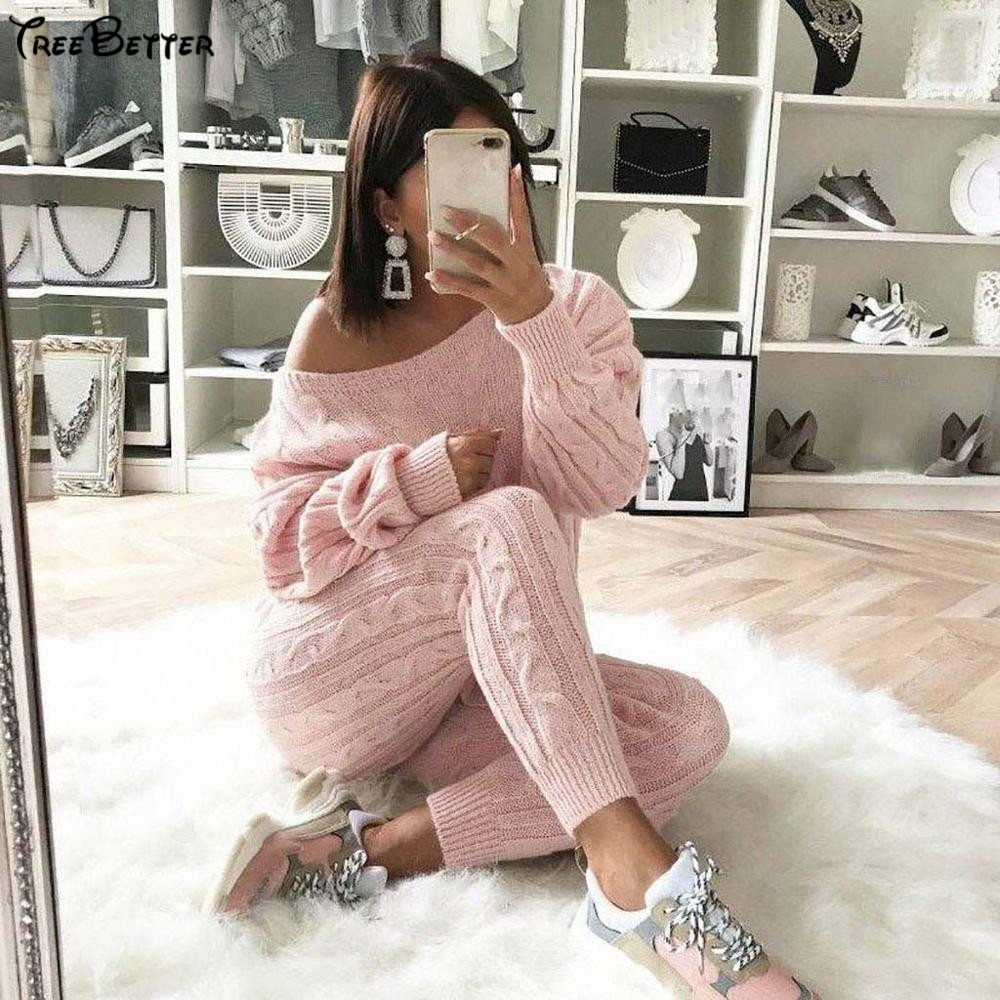 Autumn Cotton Tracksuit Women 2 Piece Set Sweater Top + Pants Knitted Suit O Neck Knit Set WOmen Outwear Two Pieces