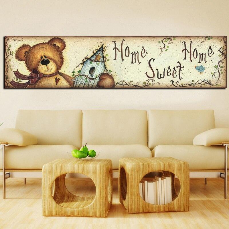 Digital HD Print Bear Cartoon Animal Oil Painting on Canvas Art ...