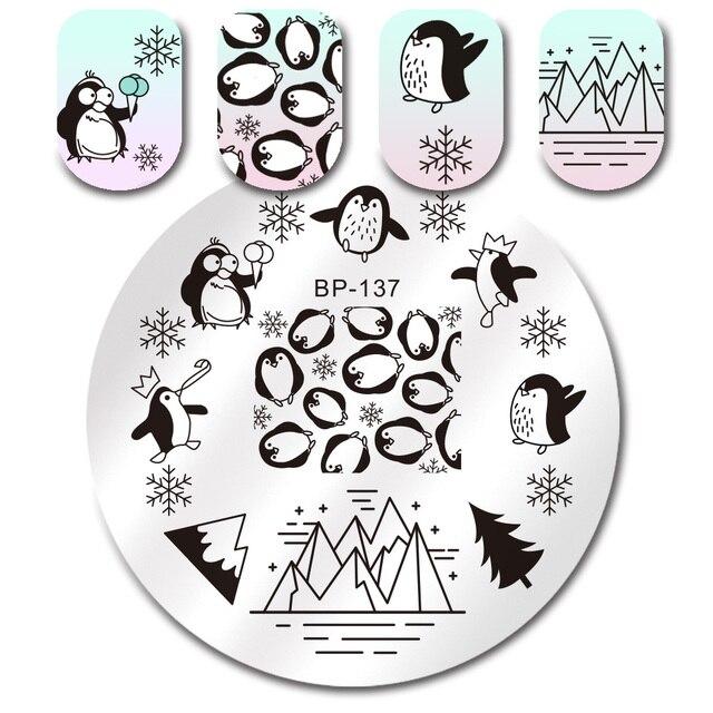 Penguin Snowflake Iceberg Round Stamping Template BORN PRETTY