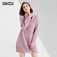 XIKOI 2018 Women Turtleneck Pink Tricot Sweater Female Casual Winter Pullover Clothes Woman Sweater Pullovers Long Sleeve Jumper