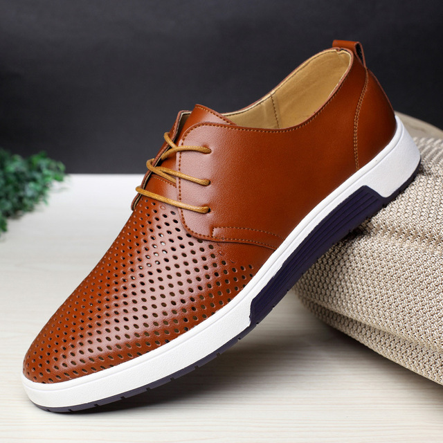 Men Casual Shoes Leather Summer Breathable Flat Shoes 1