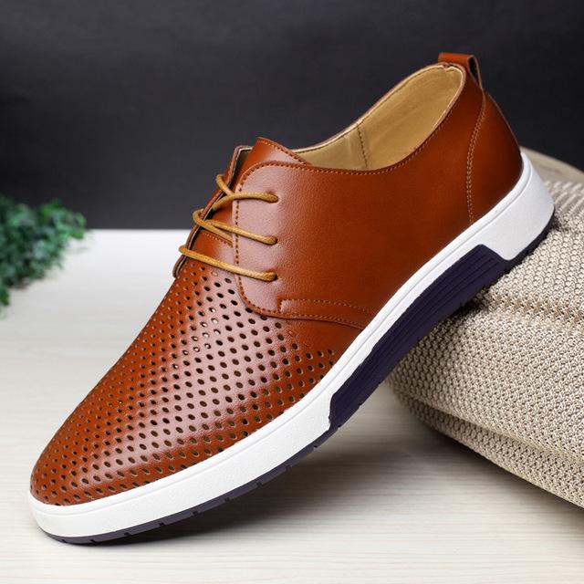 zapatos casuales de cuero de verano agujeros transpirables zapatos planos de marca de lujo para hombres