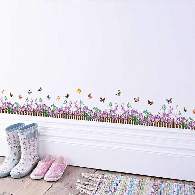 Lovely Purple Flower Baseboard Butterfly Wall Sticker Children Mural 3d Effect Wall  Decals Home Decoration PVC Kid